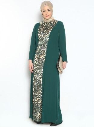 Pul Payetli Abiye Elbise - Yeşil - Sevdem