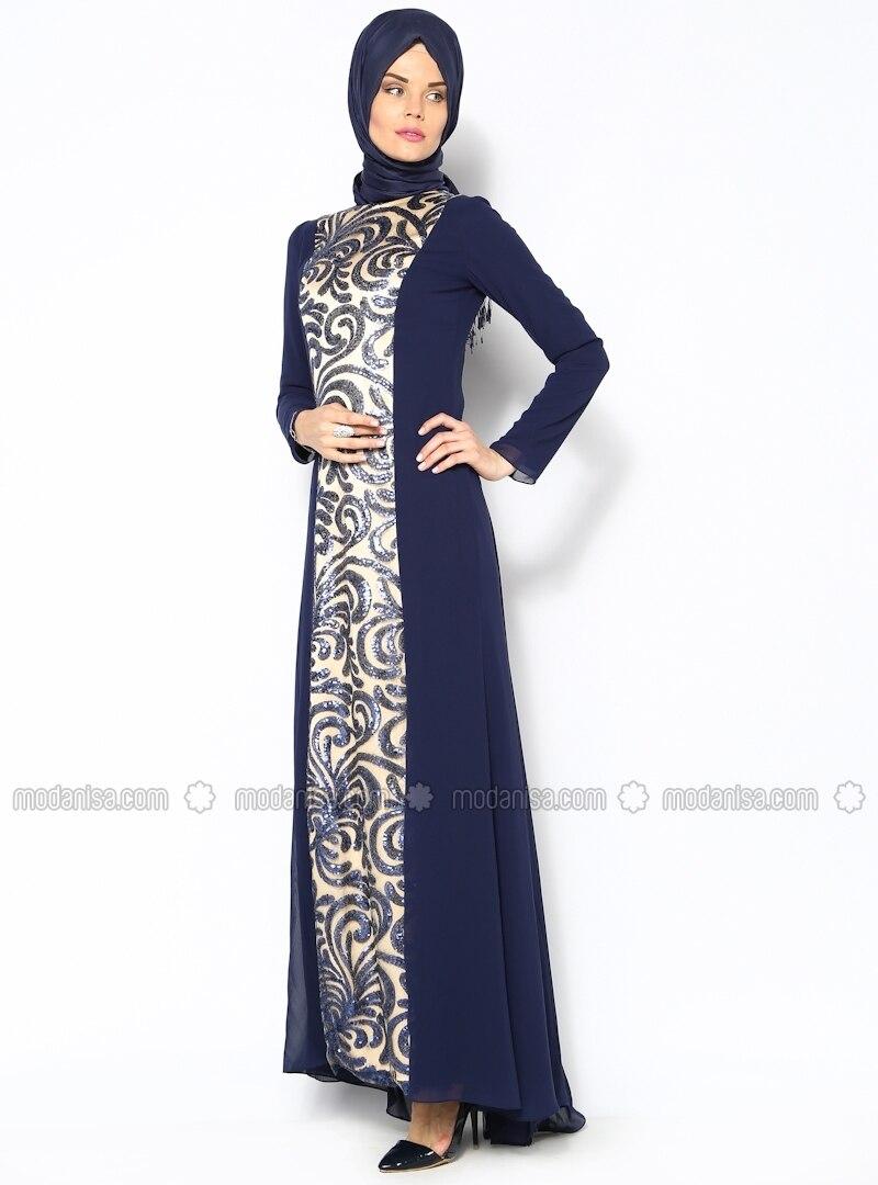 Cachet Sequined Evening Dress - Navy Blue - Sevdem