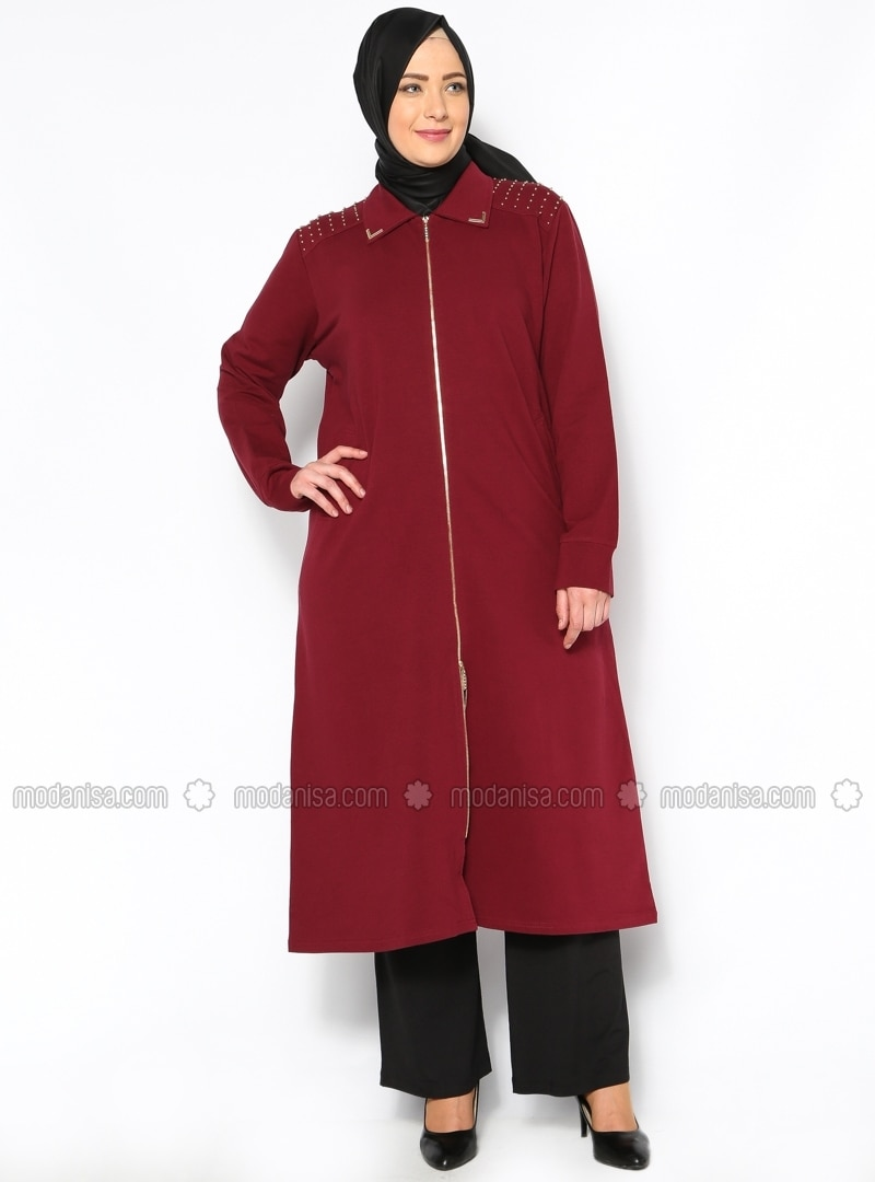 Maroon - Point Collar - Tracksuit Top