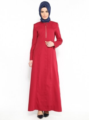 Zippered Outerwear - Red - Vivezza