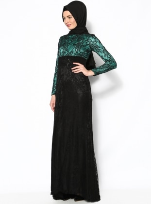 Laced Evening Dress - Green - Modaysa 120110