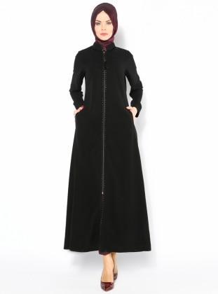 Drop Baskılı Ferace - Siyah - Cml Collection CML Collection