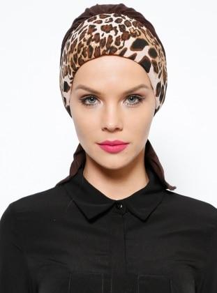 Brown - Cotton - Leopard - Instant Scarf
