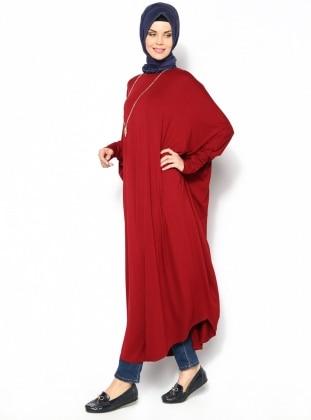 Yarasa Kollu Elbise - Bordo