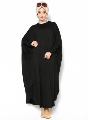 Yarasa Kollu Elbise - Siyah