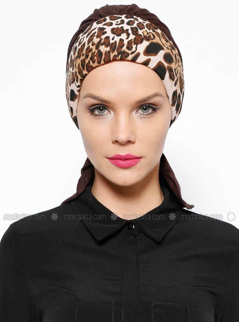 Brown - Cotton - Leopard - Instant Scarf