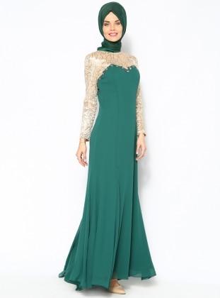 Sevdem Şifon Abiye Elbise - Yeşil - Sevdem