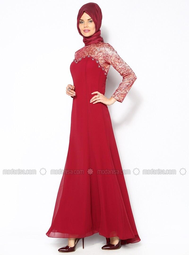 Chiffon Evening Dress - Maroon - Sevdem
