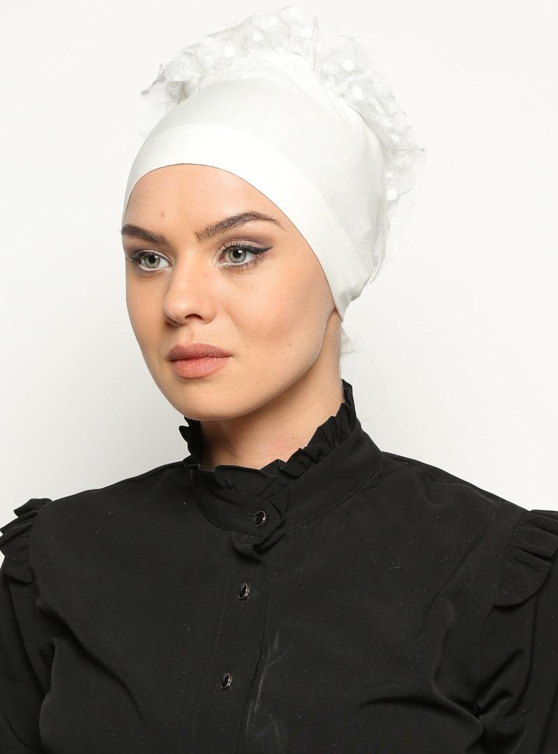 Tesettür Bone Bonecci Ekru Kadın Standart