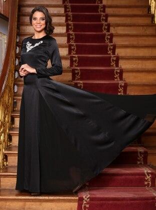 Gönül Kolat Taşlı Abiye Elbise - Siyah
