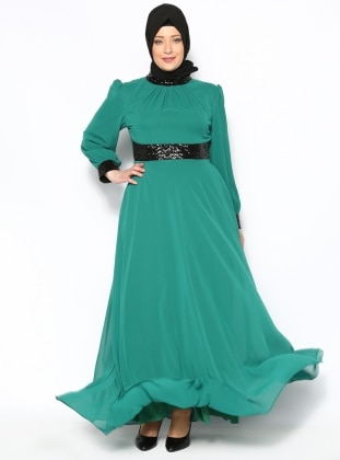 Sequin Evening Dress - Green - MODAYSA 128431