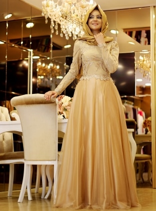 Pınar Şems Defne Abiye Elbise - Gold