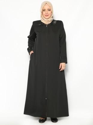 Zırh Detaylı Ferace - Siyah