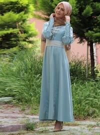 Dantel Kemerli Kot Elbise- Su Yeşili - İzotantik