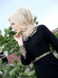 Sequined Evening Dress - Black