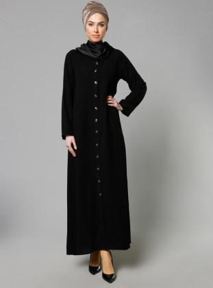 Hooded Abaya - Black