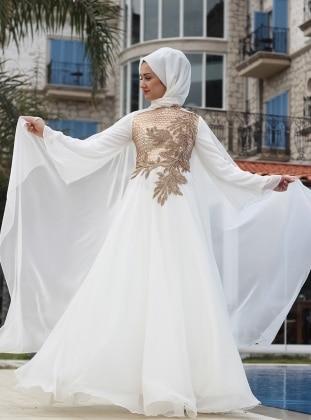 Angel Abiye Elbise - Ekru