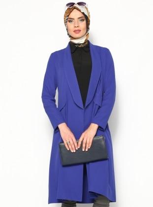 Uzun Ceket - Saks - Modanaz ModaNaz
