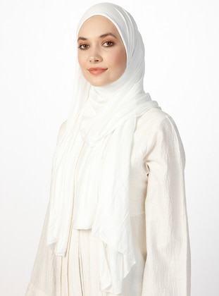 Jersey Combed Cotton Shawl - Viscose - Ecru