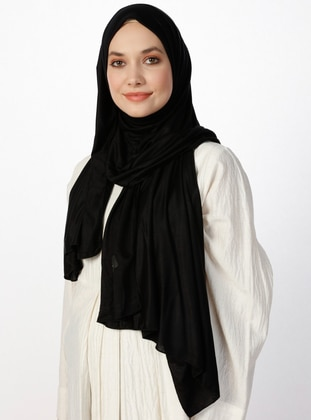Jersey Combed Cotton Shawl - Viscose - Black