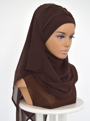 Plain - Brown - Chiffon - Pinless - Instant Scarf