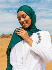 Combed Cotton Jersey Shawl - Emerald Green