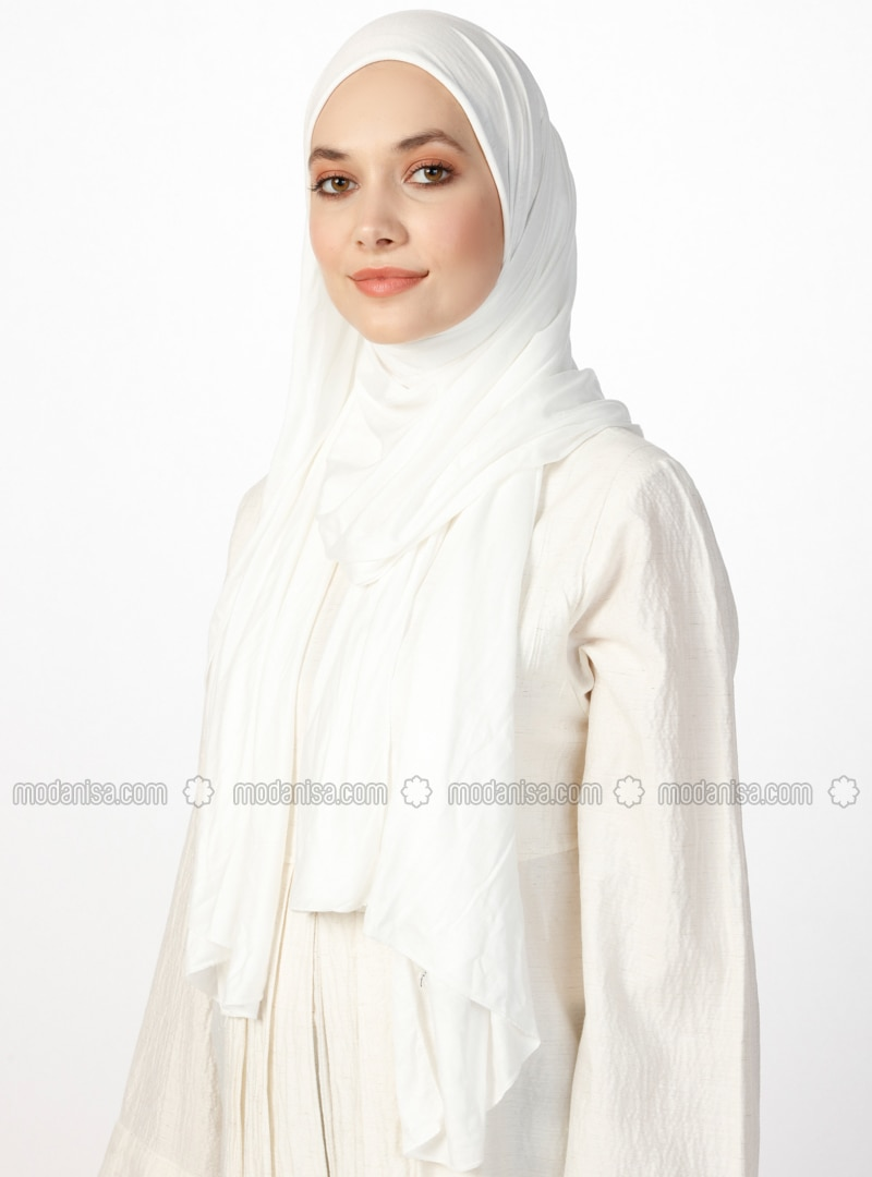 Jersey Combed Cotton Shawl - Ecru