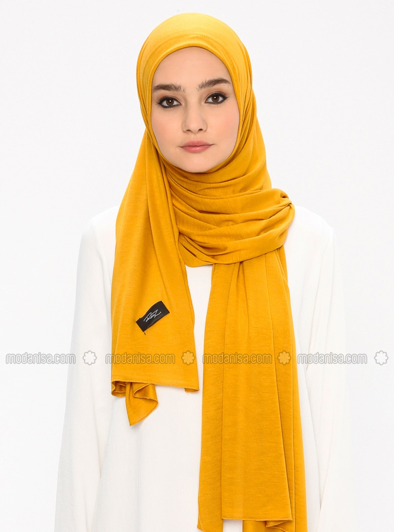 Jersey Combed Cotton Scarf - Viscose - Mustard