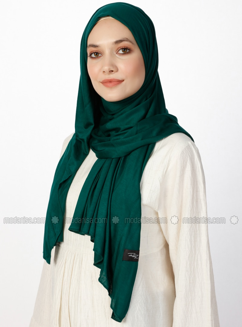 Jersey Combed Cotton Scarf - Viscose - Green