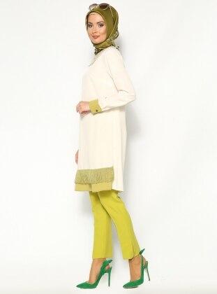 Fermuar Detaylı Pantolon - Yeşil - Burcum By. B. C. C. Burcum By BCC