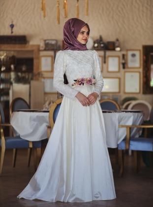 Floral Elbise - Ekru