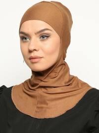 Boyunluklu Hijab Bone - Koyu Camel - Ecardin