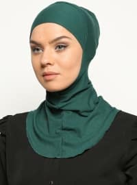 Boyunluklu Hijab Bone - Zümrüt Yeşili - Ecardin