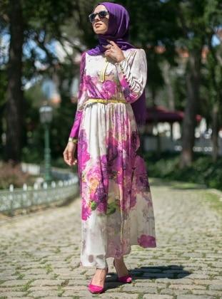 Fermuar Süslemeli Elbise - Fuşya Puane