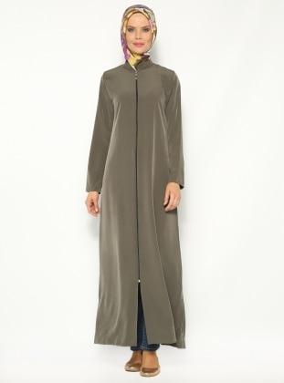 Düz Renkli Ferace - Koyu Haki - Modanaz ModaNaz