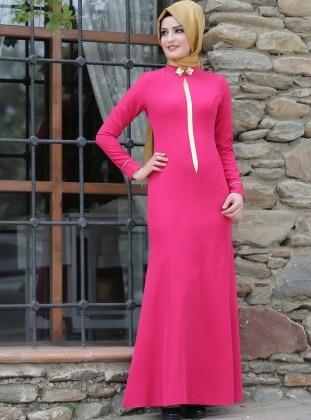 Elegan Elbise - Fuşya