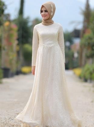Papatya Elbise - Ekru Dilek Etiz