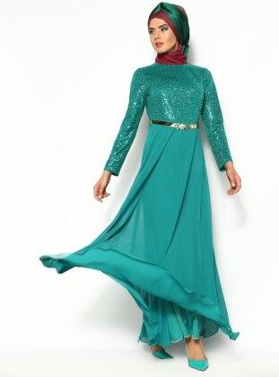 Pullu Abiye Elbise - Yeşil - Sevdem