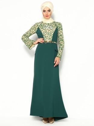Simli Abiye Elbise - Yeşil - Sevdem