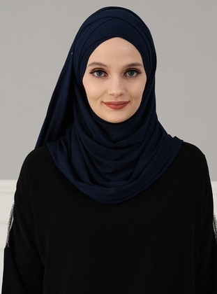 Combed Cotton - Navy Blue - Plain - Pinless - Instant Scarf