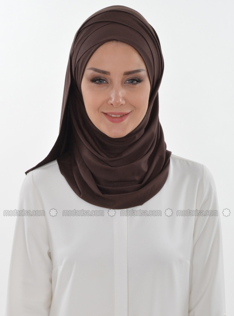 Combed Cotton - Brown - Plain - Pinless - Instant Scarf