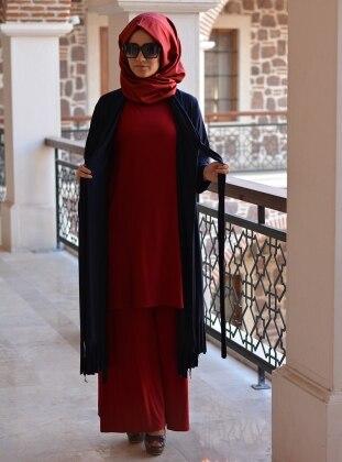 Henna Elisa Salaş Pantolon - Bordo - Henna Elisa
