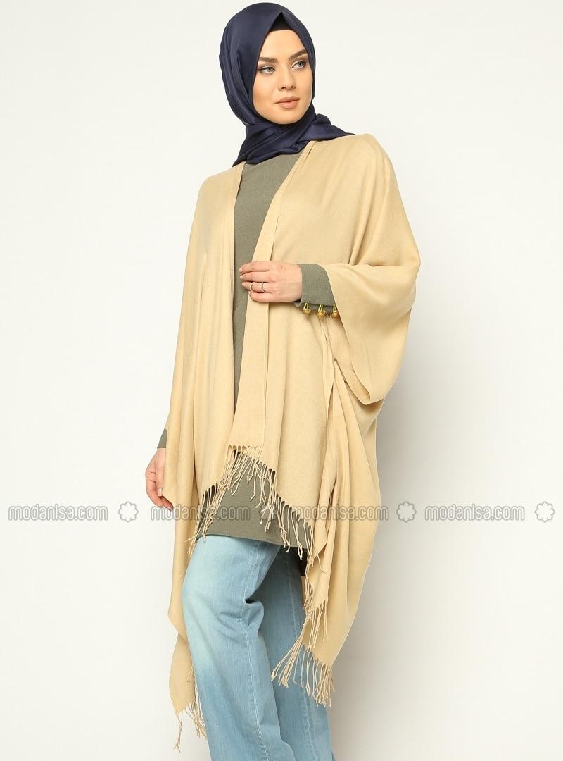 Fine Pashmina Poncho - Camel - Ozsoy