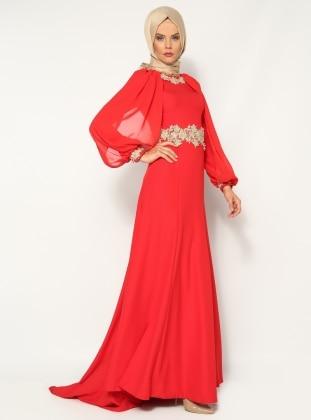 Güpür Süslemeli Abiye Elbise - Kırmızı