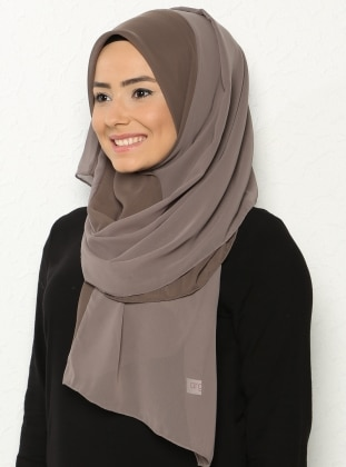 Two Color Chiffon Shawl - Brown -  Esarp