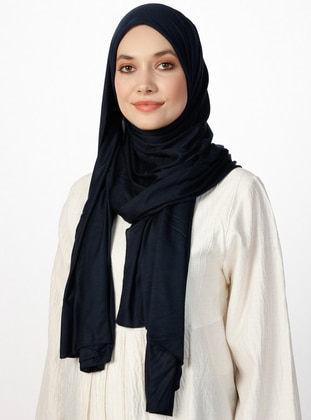 Combed Cotton Jersey Shawl - Viscose - Navy Blue