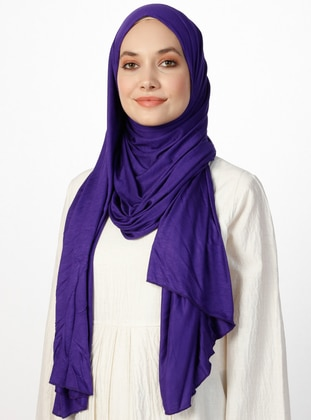 Combed Cotton Jersey Scarf - Purple