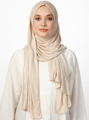 Combed Cotton Jersey Shawl - Beige