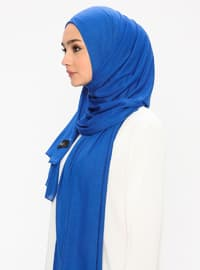 Jersey Combed Cotton Shawl - Viscose - Saxe