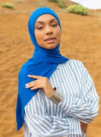 Combed Cotton Jersey Shawl - Saxe